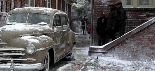 Snowy scenes from the Atlanta set.